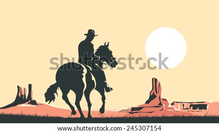 Horizontal cartoon illustration of prairie with hero of the wild West leaves in sunset. - stock vector