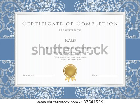 Horizontal certificate completion template floral pattern stock horizontal certificate of completion template with floral pattern watermarks blue border yadclub Gallery