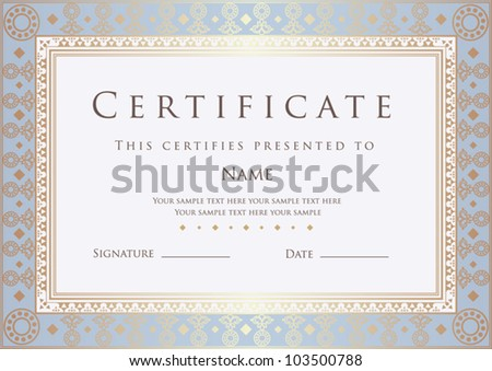 Horizontal certificate of completion template with golden floral border. This design usable for diploma, invitation,  gift voucher, coupon, official or different awards. Vector illustration EPS 8
