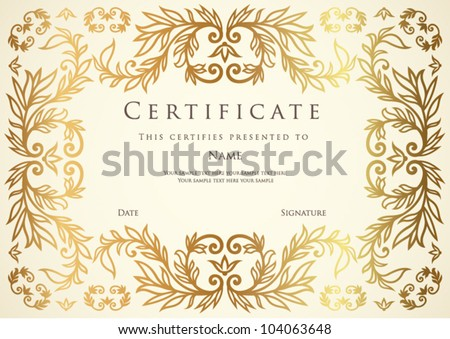 Horizontal certificate of completion template with golden floral pattern. This design usable for diploma, invitation,  gift voucher, coupon, official, ticket or different awards. Vector illustration - stock vector