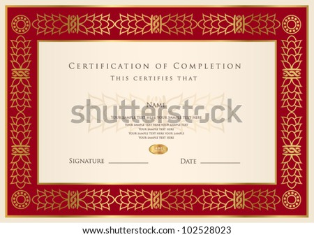 Horizontal certificate completion template golden pattern stock horizontal certificate of completion template with golden pattern and red frame this design usable for yadclub Gallery