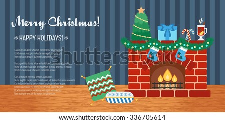 Horizontal Christmas gift card. Christmas attributes. Flat design. Vector illustration - stock vector
