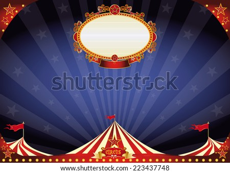 horizontal Circus night background. A circus poster on a night sky for your entertainment. A background circus ideal for a screen - stock vector