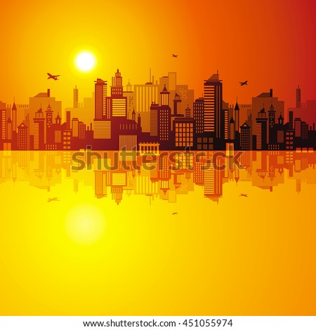 Horizontal cityscape with airplanes, vector illustration. City view with urban elements - office buildings, shopping center,  skyscrapers, water reflection pattern. Evening abstract sunset background