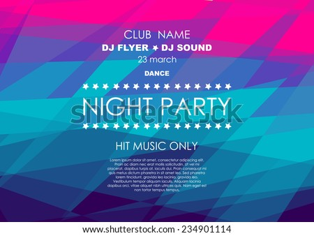 Horizontal colorful mosaic music party background with place for text.  Vector illustration. - stock vector