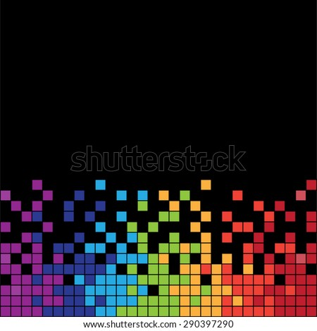 Horizontal colorful pixels with black background - stock vector