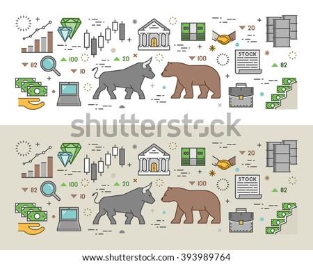 Horizontal concept of stock market. Modern banner of commodity exchange. Stock market line concept. Vector symbol of stock exchange. Outline concept of stock market. - stock vector