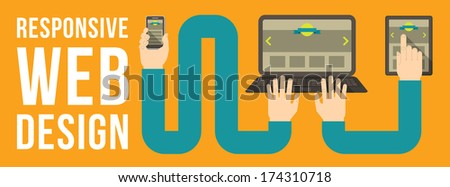Horizontal conceptual illustration of responsive web design with a laptop, a tablet and a smart phone connected with hands - stock vector