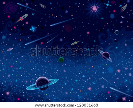 Horizontal Cosmic Background - stock vector