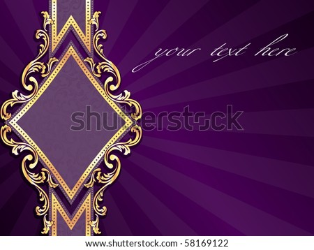 Horizontal diamond-shaped purple banner with gold filigree (EPS10); jpg version also available - stock vector
