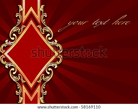 Horizontal diamond-shaped red banner with gold filigree (EPS10); jpg version also available - stock vector