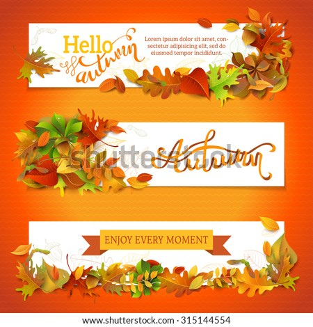 Horizontal fall banners set. Three vector templates. Bright autumn maple, oak, birch, elm, rowan, chestnut, aspen leaves and acorn. Hand-lettering elements. There is copy space for your text.  - stock vector