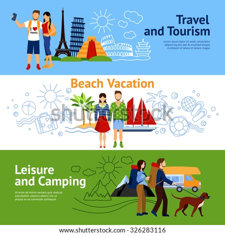 Horizontal Flat Banners Set With Three Concepts Travel And Tourism Beach Vacations Leisure Camping Vector