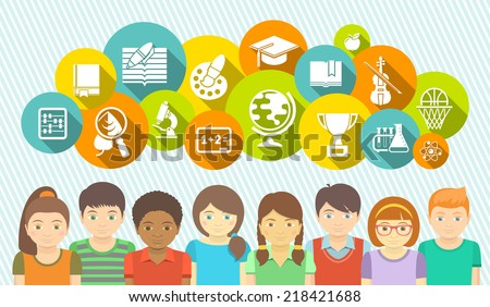 Horizontal flat vector banner with a group of kids and educational icons of school subjects in colored circles.  - stock vector