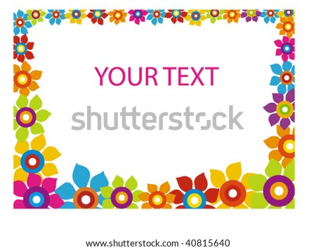 horizontal flower frame - stock vector