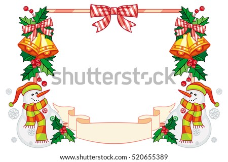 horizontal frame with christmas decorations and snowman christmas design element vector clip art