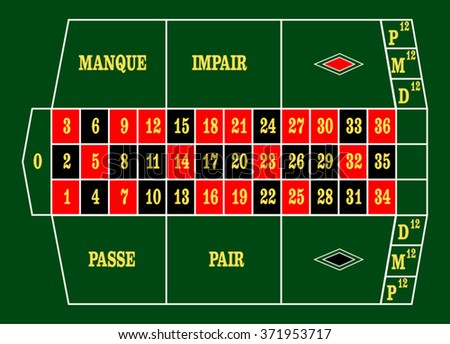 Horizontal French Roulette Table Layout