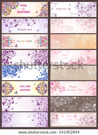 Horizontal greeting banners - stock vector