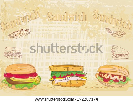 Horizontal grunge background with sandwich - stock vector