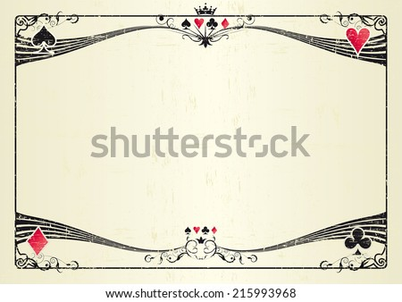 Horizontal grunge casino. A grunge horizontal background for a poker tournament. Ideal for a screen or a tablet - stock vector