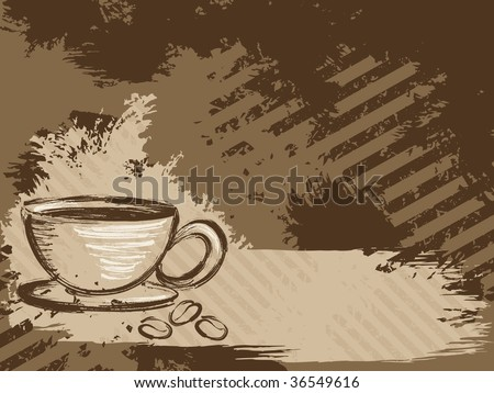 Horizontal grungy coffee background(vector); a JPG version is also available - stock vector