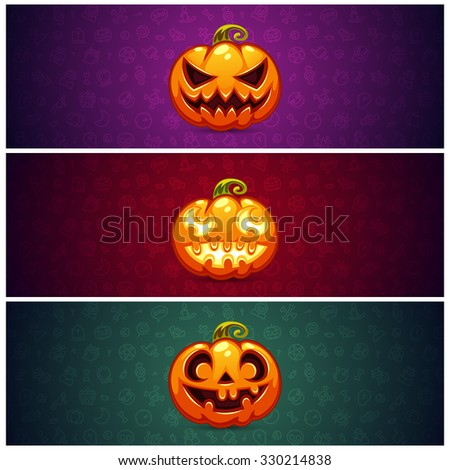 Horizontal Halloween Banners Background with Pumpkin. Editable pattern in swatches. - stock vector