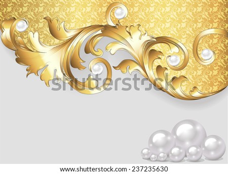 horizontal illustration background with gold ornaments and pearls - stock vector