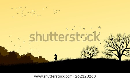 Horizontal illustration landscape with silhouette of lonely girl in field windswept.  - stock vector