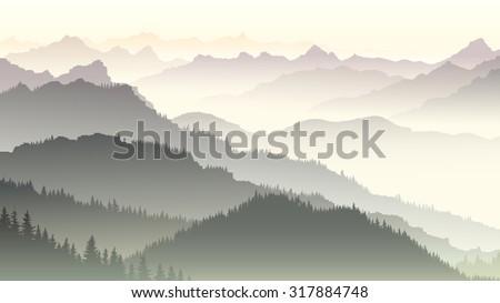 Horizontal illustration morning misty coniferous forest hills in fog. - stock vector