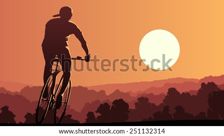 Horizontal illustration of lonely cyclist rides at sunset in forest. - stock vector