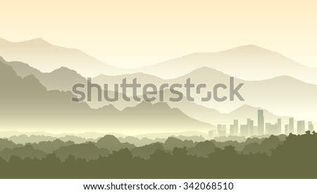 Horizontal illustration of morning misty forest and abstract town at foot of hills. - stock vector