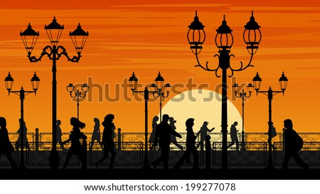 Horizontal illustration of walking people along sunset seafront street with fence and streetlights. - stock vector
