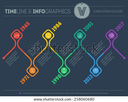 Horizontal Infographic timelines. Vector web template for presentation. Time line of Social tendencies and trends graph. Business concept with options, parts, steps or processes. - stock vector
