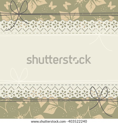 Horizontal lace frame with spring leaves, flowers and butterflies can be used for wedding invitation, greeting card , baby shower invitation and more creative designs. - stock vector