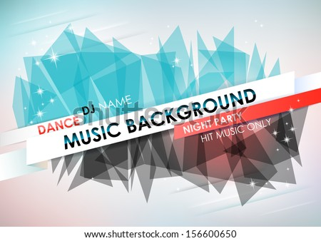 Horizontal light music background with stars and place for text.  Vector version. - stock vector