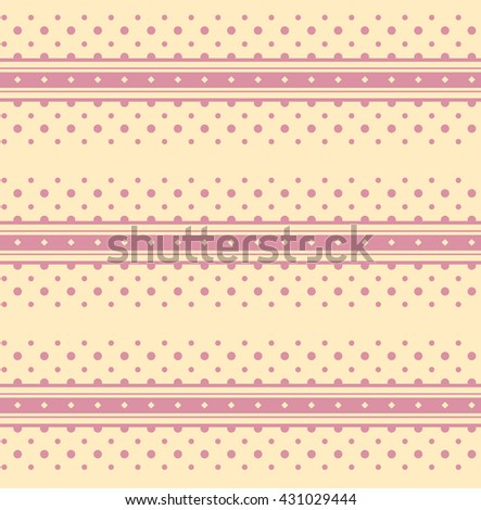 Horizontal lines and dots pattern, seamless texture background. Light-Yellow abstract backgrounds. Vector