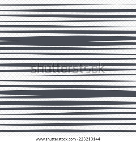 Horizontal lines pattern background. Abstract wallpaper with random wide narrow stripes or curves. Grid lines texture. Cells repeating pattern. White background. Vector - stock vector