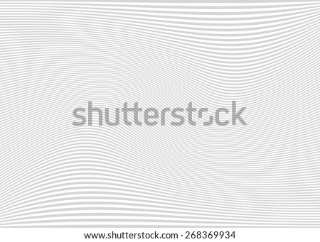 Horizontal lines / stripes pattern or background with wavy, curving distortion effect. Bending, warped lines. Light gray version. - stock vector
