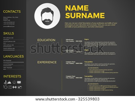 Horizontal Modern Cv Resume Template Stock Vector (Royalty Free ...