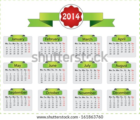 Horizontal 2014 monday start calendar vector. Isolated vector illustration with green labels and ribbon. Easy to edit calendar, months are grouped separately.  - stock vector