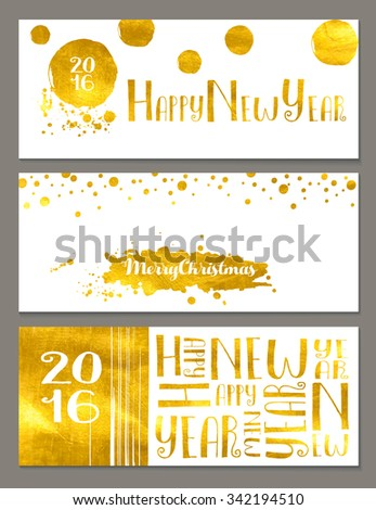 Horizontal New Year and Christmas banners with gold foil and simple, abstract, hand drawn decorative design elements - stock vector