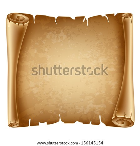 Horizontal old scroll paper with space for your text - stock vector