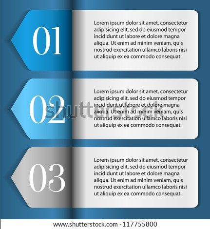 Horizontal One, Two, Three progress labels with arrows on blue background, vector - stock vector