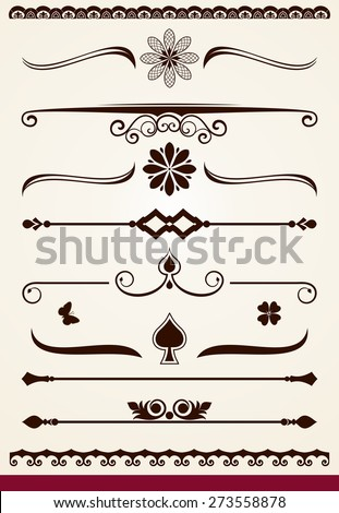 Horizontal page and text dividers and decorative design elements - stock vector