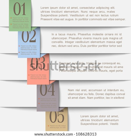 Horizontal paper numbered banners. Vector  design template