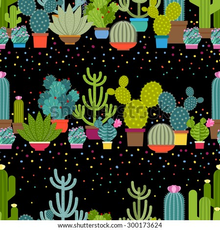 Horizontal patterns of cactus in flat style. Green plant collection, nature design graphic, houseplant and floral. Vector illustration - stock vector