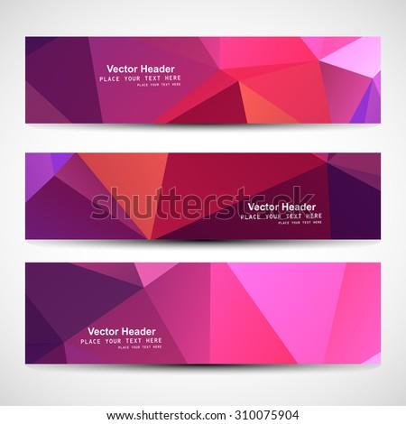 Horizontal polygonal header colorful vector design - stock vector