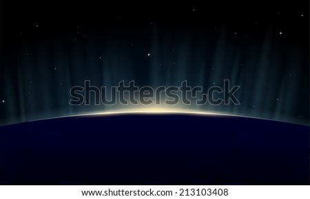 Horizontal poster of rising sun on Earth. View from space, with aurora glowing on horizon. - stock vector
