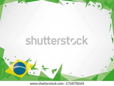 Horizontal poster origami of brazil - stock vector