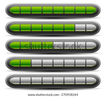 Horizontal Progress, Loading Bars. Meters, Level Indicators. - stock vector